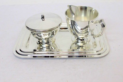 Silver Plated Creamer and Sugar Bowl with Tray