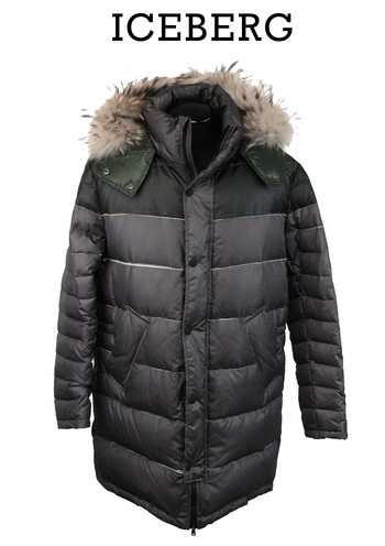 ICEBERG Men's Italian Designer Goose Down 3/4 Hooded Puffer Jacket - Size L - Retail $1,450.00