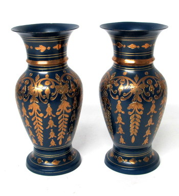 Vintage Set of 2 Painted and Etched Copper Vases