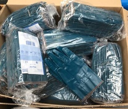 12 Pieces Ansell Hynit Nitrile-Impregnated Gloves - Size 10