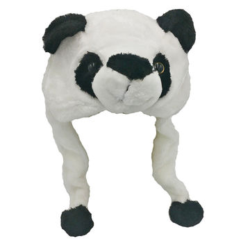 ANIMAL HAT Selections - Plush Faux Fur Critter Cap - Soft Panda
