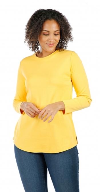 ISAAC MIZRAHI Ladies Essentials Crew Neck Knit Top, Golden Yellow , XS
