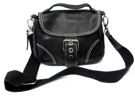 Roots Pebbled Leather Crossbody/Messenger Bag