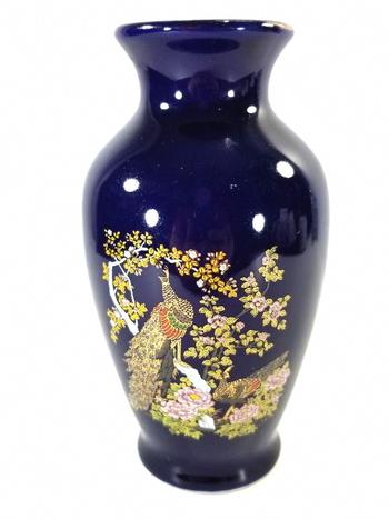 VTG Hand Painted Porcelain Japan Blue Vase