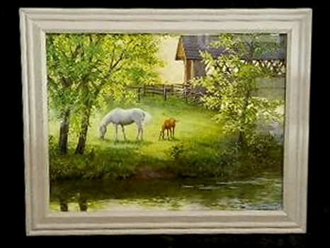 Vintage Framed Print of Two Horses Grazing