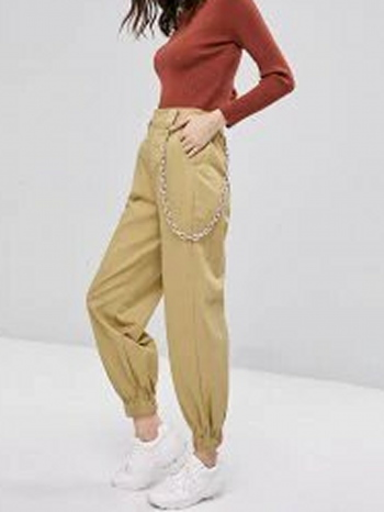 NWT Chain Embellished Jogger Pants - Light Khaki - Size S