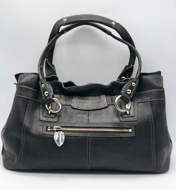 Coach Carryall Penelope Large Black Pebbled Leather Shoulder Bag F14682 Retail $398