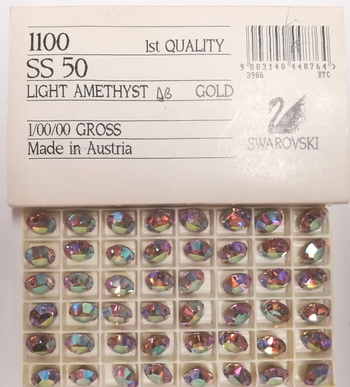 SWAROVSKI STONES - ART1100 SS50 GOLD FOILED A/B LIGHT AMETHYST STONES - 143 PIECES