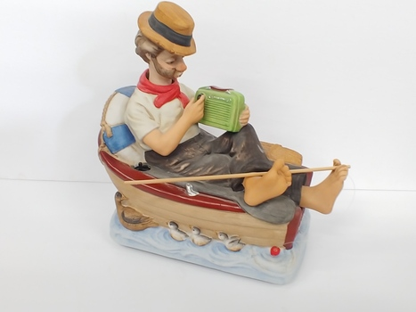 Vintage Melody In Motion Hand Painted Porcelain Fisherman Animated Figure