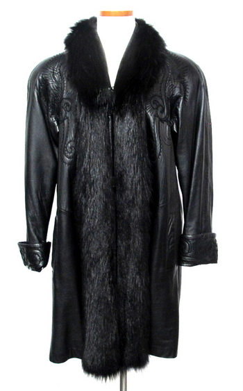 Women's Black Leather Coat with Fox Collar and Trim-Size L/XL