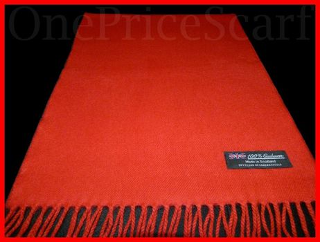 New 100% Cashmere LONG 72X12 SCARF Solid Red MADE IN SCOTLAND 2-Ply Warm Wool