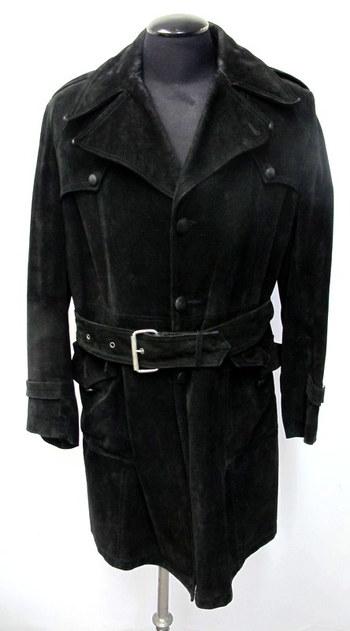 Men's Black Suede Coat - Size Medium