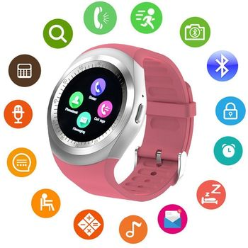 Round Android iOS Bluetooth Smart Watch Waterproof - Pink