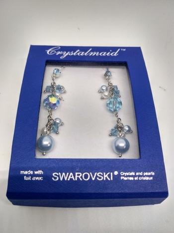 Swarovski Crystal Earrings 18K White Gold Plated
