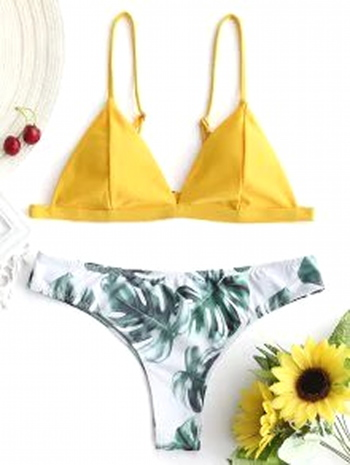 NWT Padded Bikini Top With Palm Leaf Bottoms - Mustard Size M