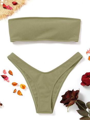 NWT High Cut Ribbed Bandeau Bikini Set - Pea Green Size S