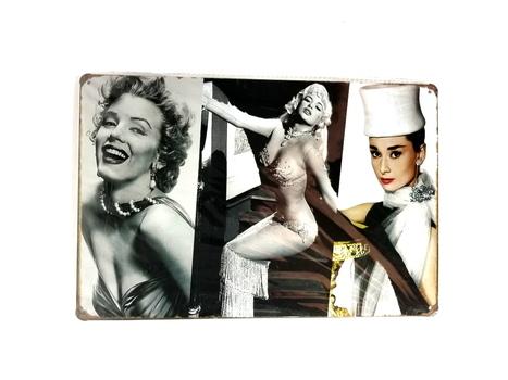 Three Classic Ladies of The Cinema Wall Decor Metal Sign