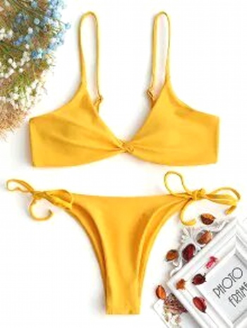 NWT Cami Twist Front String Bikini Set - Ginger Size S
