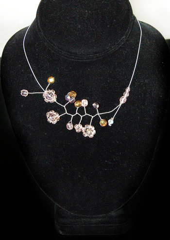 Silver Plated Tiger Tail Wire Necklaces with Pressed Glass Bead Flowers - 9 Pieces