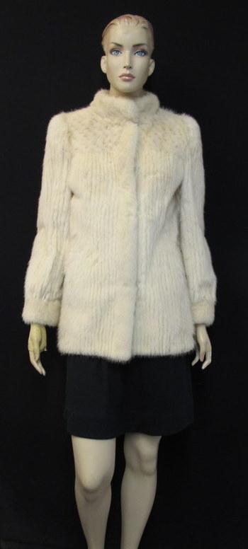 Women's Striped Cream Mink Jacket- Size Small