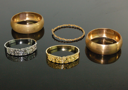 GOLD SILVER AND BRASS PLATED BANGELS - 5 Pieces