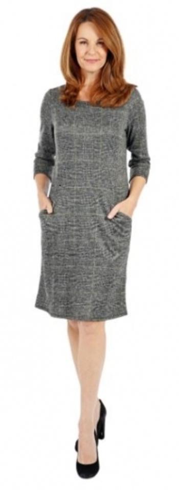 Nina Leonard Sweater Knit Dress with Front Pockets, Style: Plaid, Size: Small