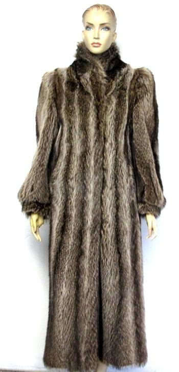 Women's Full Length Raccoon Coat - Size S/M