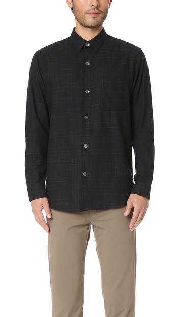 Men's Theory Black Rammis Valmeyer Button Up Shirt, Large