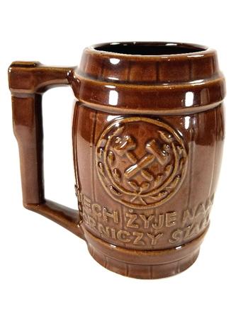 Vintage German Barrel Ceramic Beer Stein With Handle