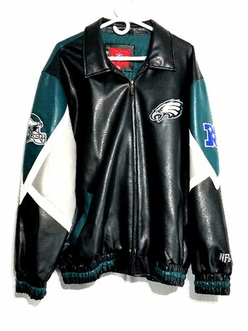 Vintage NFL Philadelphia Eagles Leather Jacket Full Zip Men's Size XL