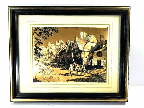 Vintage England Town Copper Art Foil Print Framed