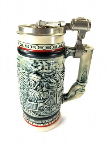 Vintage Ceramarte Brazil Avon 1983 Beer Stein With Lid Train Design