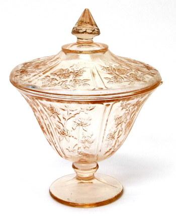Vintage Pink Depression Glass Pedestal Covered Candy Dish
