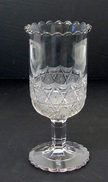 Antique Pressed Glass Pedestal Short Stem Flower Vase-Circa 1910's