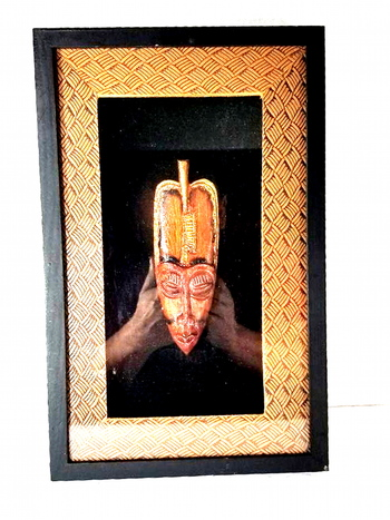 Framed Shadow Box African Tribal Wall Art Long Mask