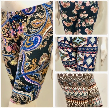 Art Print Stretch Leggings Above Knee Active Sport Casual 4 Pieces