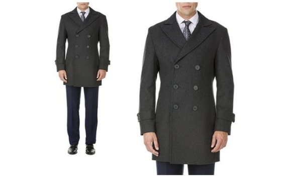 Men's Double-Breasted Charcoal Gray Wool-Blend Coat Sz Small MSRP $459.99