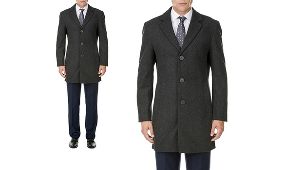 Men's Single-Breasted Charcoal Gray Wool-Blend Coat Sz Medium MSRP $459.99