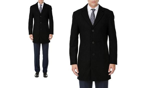Men's Single-Breasted Black Wool-Blend Coat Sz 3XL MSRP $459.99