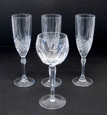 3 Crystal Flute Glasses, 1 Crystal Wine Glass