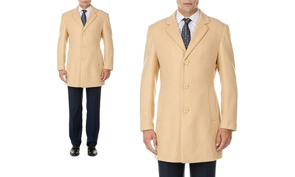 Men's Single-Breasted Camel Coat Sz XXXL MSRP $459.99