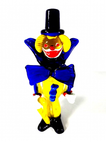 "Murano Art Glass 10"" Hand Blown Clown Figurine with Top Hat and Blue Bow Tie"