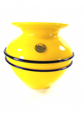 Bohemia Art Deco Yellow Glass Vase - Hand Blown