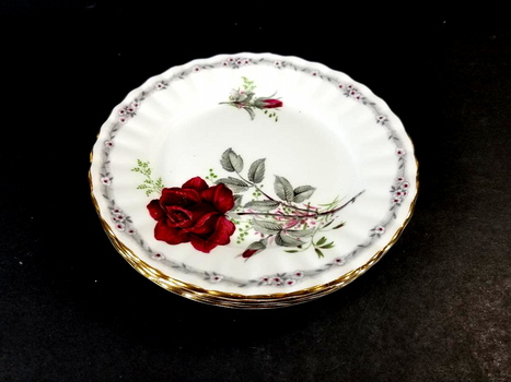 4 Royal Stafford Fine Bone China England Plates - Roses To Remember
