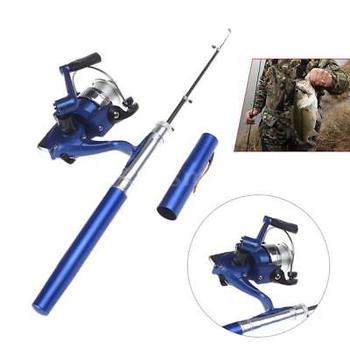 Aluminum alloy Mini Pocket Fishing Rod Reel Combo Pole Reel Set With Line A4S7