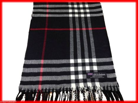 100% Cashmere Scarf Black White Red Tartan Big Check Plaid Scottish Wool Unisex