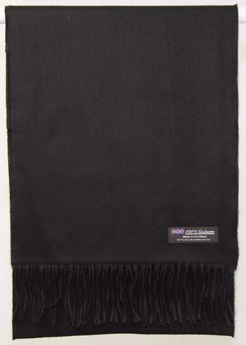 SOFT 2PLY 100% Cashmere Scarf Solid Black Scotland