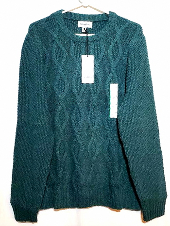 New With Tags Ladies Green Crew Neck Sweater Size M