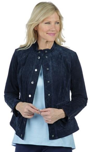 Isaac Mizrahi Live Suede Utility Jacket, Size: 4, Colour: Navy, Retail: $400.00