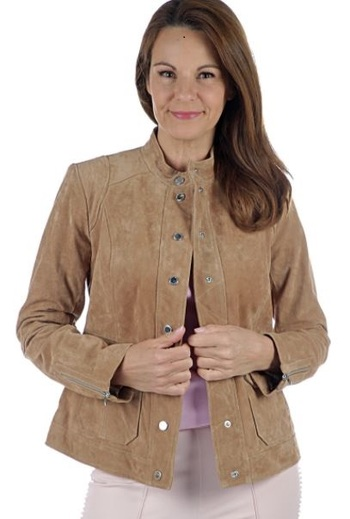 Isaac Mizrahi Live Suede Utility Jacket, Size: 4, Colour: Fawn, Retail: $400.00